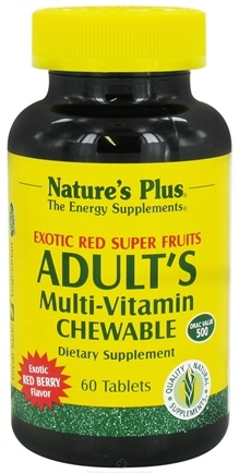 DROPPED: Nature's Plus - Adult's Multi-Vitamin Exotic Red Berry - 60 Chewable Tablets CLEARANCE PRICED