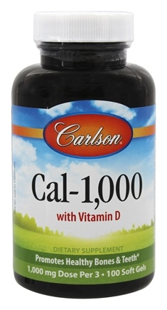 DROPPED: Carlson Labs - Cal-1,000 With Vitamin D 1000 mg. - 100 Softgels