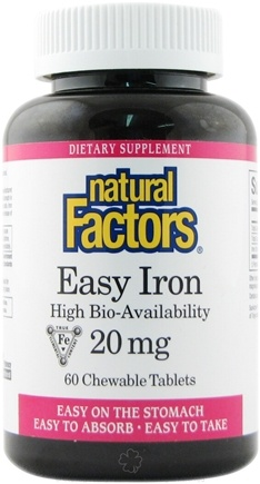 Natural Factors - Easy Iron High Bio-Availability 20 mg. - 60 Chewable Tablets