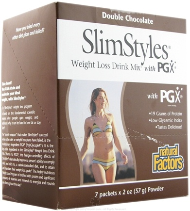 DROPPED: Natural Factors - SlimStyles Weight Loss Drink Mix with PGX 7 x 2 oz. Packet(s) Double Chocolate
