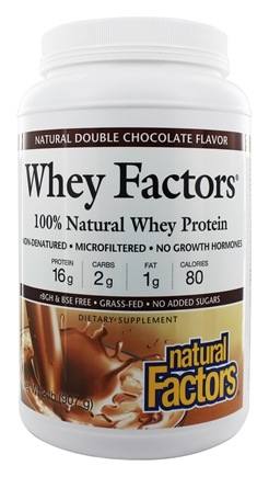 Natural Factors - Whey Factors 100% Natural Whey Protein Natural Double Chocolate - 2 lbs.