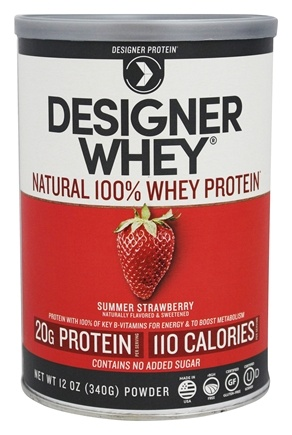 Designer Protein - Designer Whey Natural 100% Whey Protein Summer Strawberry - 12 oz.