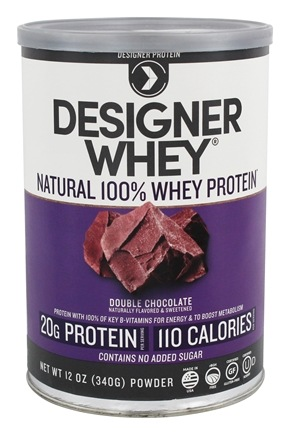 Designer Protein - Designer Whey Natural 100% Whey-Based Protein Powder Double Chocolate - 12 oz.