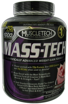 DROPPED: Muscletech Products - Mass-Tech Weight Gain Formula Strawberry Milkshake - 5 lbs. CLEARANCE PRICED