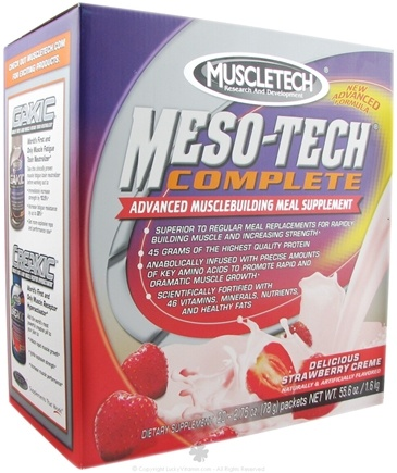 DROPPED: Muscletech Products - Meso-Tech Complete Delicious Strawberry Creme - 20 Packet(s) CLEARANCE PRICED
