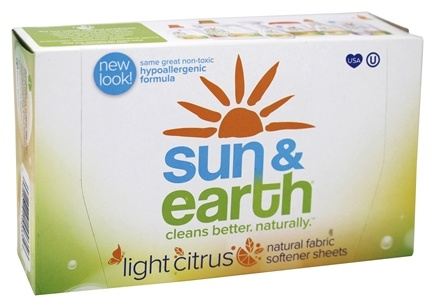 Sun & Earth - Natural Fabric Softener Sheets Light Citrus - 80 Sheet(s)