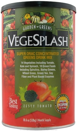 DROPPED: Garden Greens - VegeSplash Super ORAC Concentrated Greens Drink Mix Zesty Tomato - 18.6 oz.