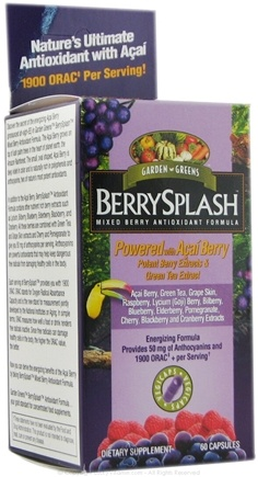 DROPPED: Garden Greens - BerrySplash Mixed Berry Antioxidant Formula - 60 Vegetarian Capsules CLEARANCE PRICED