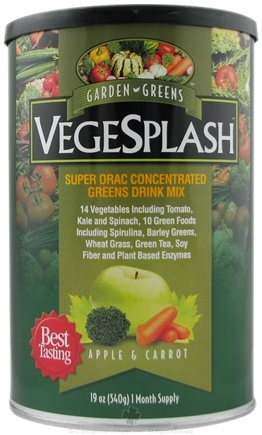 DROPPED: Garden Greens - VegeSplash Super ORAC Concentrated Greens Drink Mix Apple & Carrot - 19 oz.