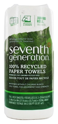 Zoom View - Paper Towels 100% Recycled White Jumbo Roll 156 Sheets