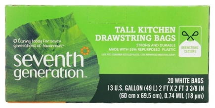 Seventh Generation - Tall Kitchen Drawstring Trash Bags 13 Gallon - 20 Bags