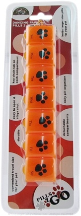 DROPPED: Dancing Paws - Pills 2 Go Box Daily Pill Organizer for Your Pet! Orange - CLEARANCE PRICED