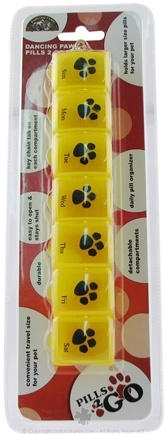 DROPPED: Dancing Paws - Pills 2 Go Box Daily Pill Organizer for Your Pet! Yellow - CLEARANCE PRICED