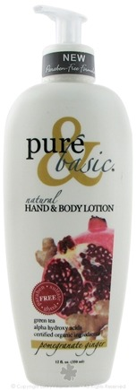 DROPPED: Pure & Basic - Natural Hand & Body Lotion Pomegranate Ginger - 12 oz. CLEARANCE PRICED