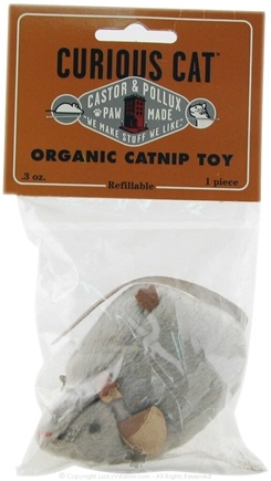 DROPPED: Castor & Pollux - Curious Cat Organic Catnip Toy Grey Mouse - CLEARANCE PRICED