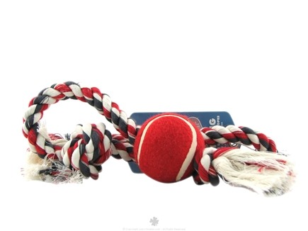 Zoom View - Red Rover Rope Tug with Tennis Ball Medium Clearance Priced