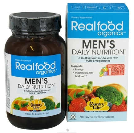 DROPPED: Country Life - Real Food Organics Men's Daily Nutrition - 60 Tablets CLEARANCE PRICED