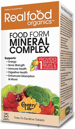 DROPPED: Country Life - Real Food Organics Food Form Mineral Complex CLEARANCE PRICED - 30 Tablets