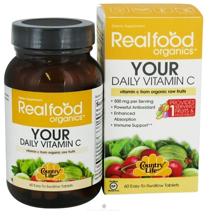 DROPPED: Country Life - Real Food Organics Your Daily Vitamin C 500 mg. - 60 Tablets