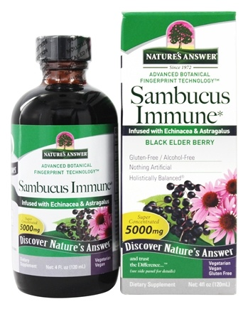 Nature's Answer - Sambucus Black Elder Berry Extract Immune Support - 4 oz.