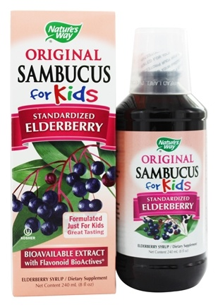 Nature's Way - Sambucus For Kids Bio-Certified Elderberry, Echinacea, & Propolis Syrup Berry Flavored - 8 oz.
