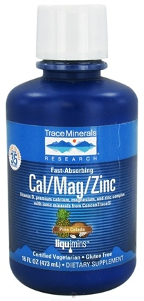 DROPPED: Trace Minerals Research - Liquid Cal/Mag/Zinc Pina Colada - 16 oz. CLEARANCE PRICED