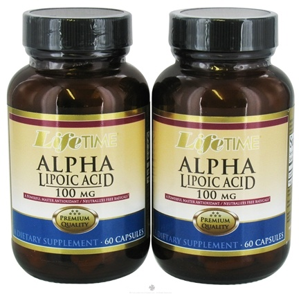 DROPPED: LifeTime Vitamins - Alpha Lipoic Acid Anitoxidant (60+60) Twin Pack 100 mg. - 120 Capsules CLEARANCE PRICED