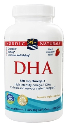 Nordic Naturals - DHA Formula from Purified Fish Oil Strawberry 500 mg. - 180 Softgels