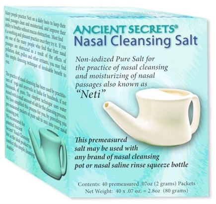DROPPED: Ancient Secrets - Neti Nasal Cleansing Salt - 40 Packet(s) CLEARANCE PRICED