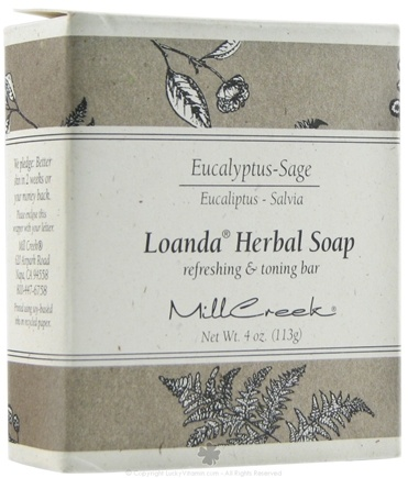 DROPPED: Mill Creek Botanicals - Loanda Herbal Soap Refreshing & Toning Bar Eucalyptus Sage - 4 oz. CLEARANCE PRICED