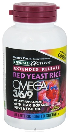 DROPPED: Nature's Plus - Herbal Actives Extended Release Red Yeast Rice, Omega 3-6-9 with CoQ10 - 30 Softgels