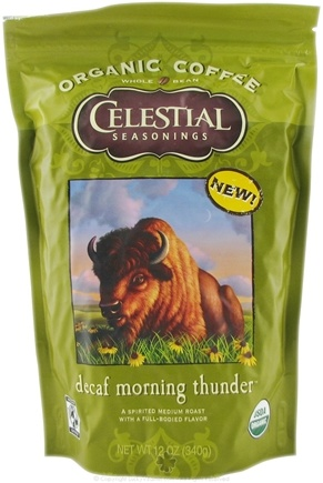 DROPPED: Celestial Seasonings - Organic Coffee Decaf Morning Thunder - 12 oz.