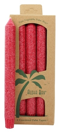 DROPPED: Aloha Bay - Palm Tapers Unscented Candles Red - 4 Pack
