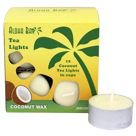 Aloha Bay - 100% Vegetable Palm Wax Tea Light Candles Unscented Cream - 12 Pack