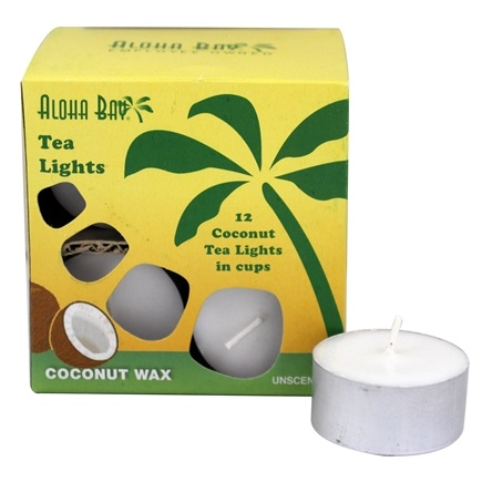 Aloha Bay - 100% Vegetable Palm Wax Tea Light Candles Unscented White - 12 Pack
