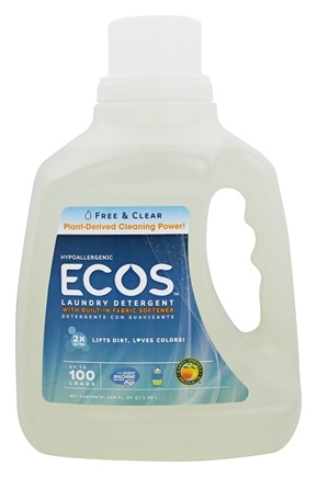 Earth Friendly - ECOS Hypoallergenic Laundry Detergent with Built-In Fabric Softeners Free & Clear - 100 oz.