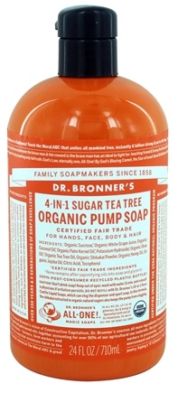 Dr. Bronners - 4 in 1 Organic Pump Soap Sugar Tea Tree - 24 oz.