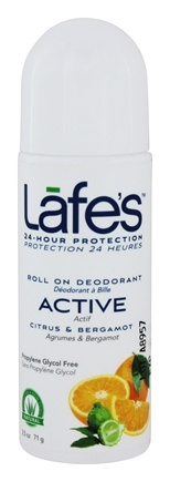 Lafe's - 24-Hour Protection Roll On Deodorant Active Citrus & Bergamot - 2.5 oz.