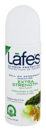 Lafe's - 24-Hour Roll On Deodorant Extra Strength Coriander Oil & Tea Tree - 2.5 oz.