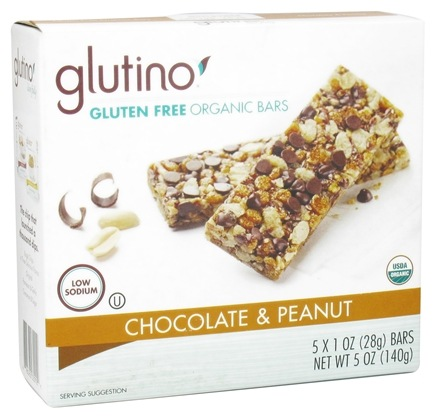 DROPPED: Glutino - Gluten Free Organic Bars Chocolate & Peanuts - 5 x 1 oz. - 5 oz.