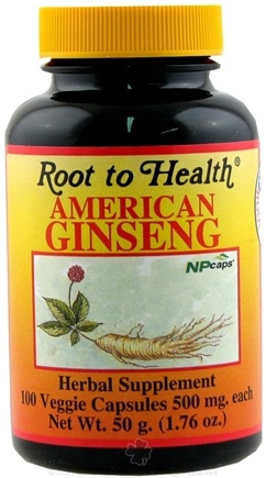 DROPPED: Root To Health - American Ginseng Supplement 500 mg. - 100 Vegetarian Capsules