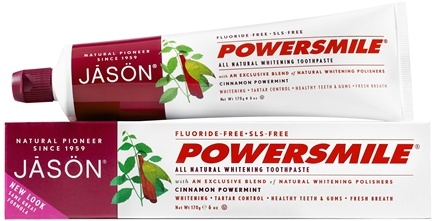 JASON Natural Products - PowerSmile All Natural Whitening Toothpaste Fluoride-Free Cinnamon Mint - 6 oz.