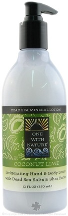 DROPPED: One With Nature - Dead Sea Mineral Hand & Body Lotion Invigorating Coconut Lime - 12 oz. CLEARANCED PRICED