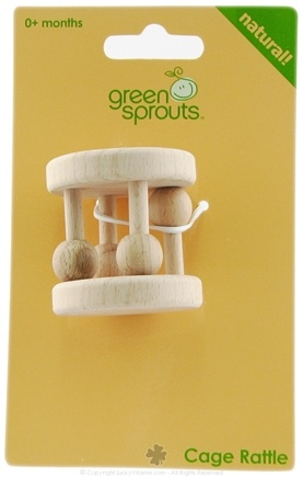 Zoom View - Green Sprouts Natural Wood Cage Rattle 0 Months and Up
