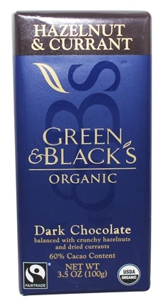 Green & Black's Organic - Hazelnut & Currant Dark Chocolate Bar 60% Cacao - 3.5 oz.
