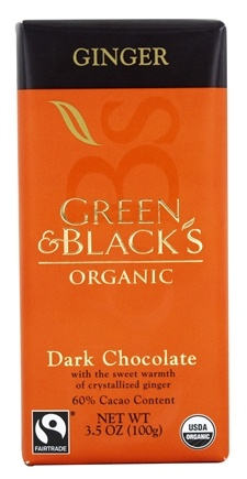 Green & Black's Organic - Ginger Dark Chocolate Bar 60% Cacao - 3.5 oz.