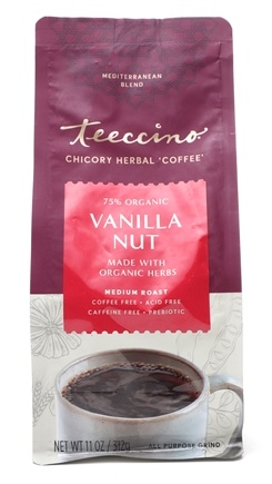 Teeccino - Herbal Coffee Alternative 75% Organic Vanilla Nut - 11 oz. Formerly Mediterranean Herbal Coffee Vanilla Nut Medium Roast 75% Organic