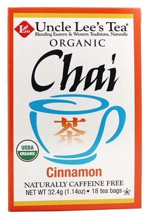 DROPPED: Uncle Lee's Tea - 100% Organic Chai Tea Caffeine Free Cinnamon - 18 Tea Bags