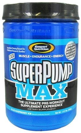 DROPPED: Gaspari Nutrition - SuperPump MAX Pre-Workout Formula Blue Raspberry Ice - 1.41 lbs.