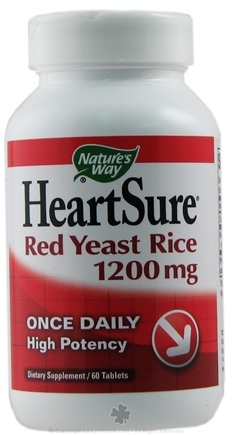 DROPPED: Nature's Way - HeartSure Red Yeast Rice High Potency Once Daily 1200 mg. - 60 Tablets CLEARANCE PRICED